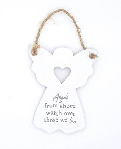 Angels from above watch over those we love wooden sign